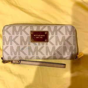 White MK print zipper wallet